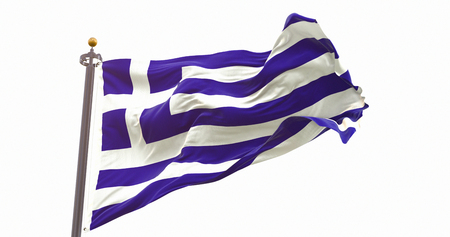 Greece Flag Waving on Wind Isolated White Background. Wave And Fabric Greece Flag.