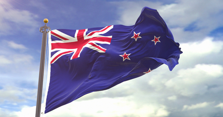 Flag of New Zealand. Wave And Fabric New Zealand Flag. Фото со стока