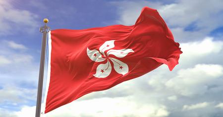 HongKong Flag Waving On Sky Background. Wave And Fabric HongKong Flag.