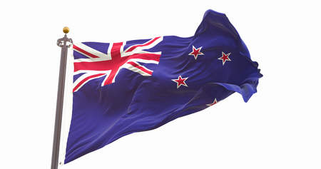 New Zealand Flag Isolated on White Background. Wave And Fabric New Zealand Flag.