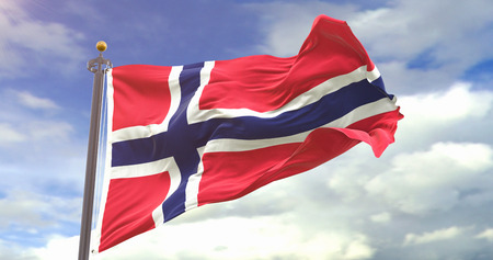 Norway Flag Waving Wind On Sky Background. Wave And Fabric Norway Flag.