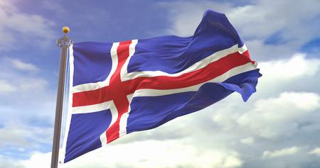 Iceland Flag On Sky Background. Wave And Fabric Iceland Flag. Фото со стока