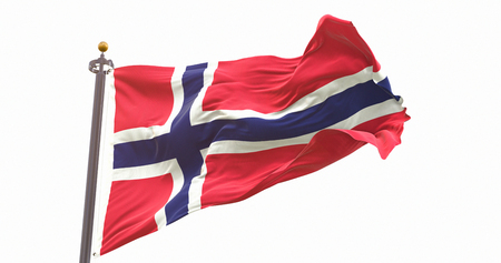 Norway Flag Isolated On White Background. Wave And Fabric Norway Flag. Фото со стока