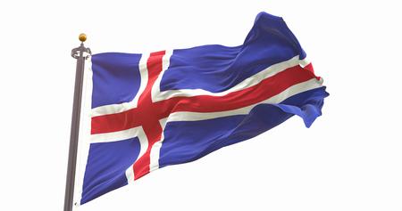 Iceland Flag Isolated On White Background. Wave And Fabric Iceland Flag. Фото со стока