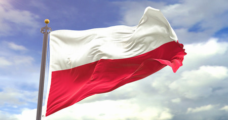 Poland Flag Waving Wind On Sky background. Wave And Fabric Poland Flag. Фото со стока