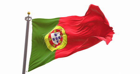 Portugal Flag Isolated On White Background. Wave And Fabric Portugal Flag.