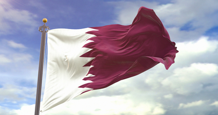 Qatar Flag Waving Wind On Sky Background. Wave And Fabric Qatar Flag. Фото со стока