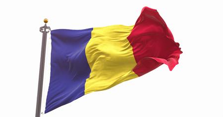 Romania Flag Waving Wind On Sky Background. Wave And Fabric Romania Flag.