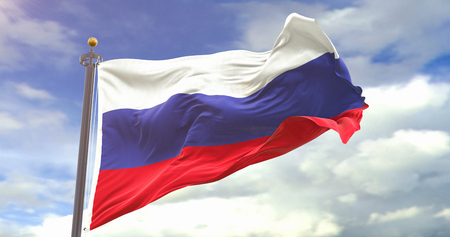 Russia Flag On Sky Background. Wave And Fabric Russia Flag.
