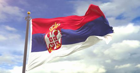 Flag Waving Wind On Sky Background. Wave And Fabric Serbia Flag. Фото со стока