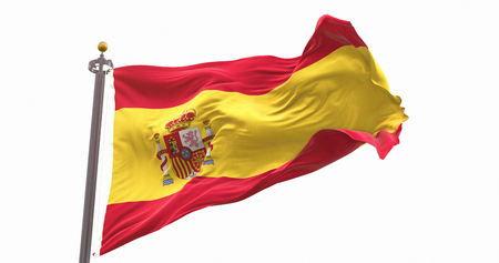 Spain Flag Waving on Wind Isolated White Background. Wave And Fabric Spain Flag.