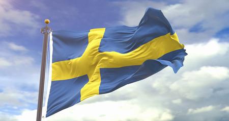 Sweden Flag On The Sky Background. Wave And Fabric Sweden Flag.