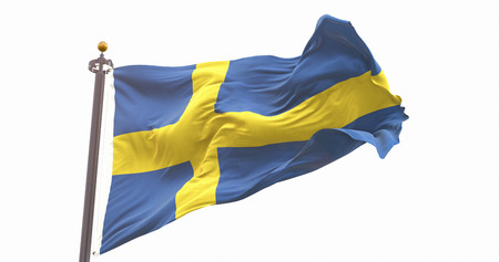 Flag Of Sweden Isolated On White Background. Wave And Fabric Sweden Flag.