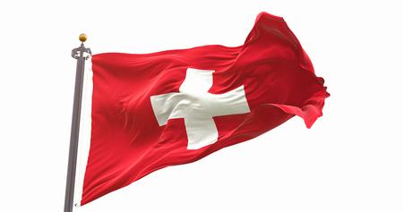 Switzerland Flag Waving Wind Isolated on White Background. Wave And Fabric Switzerland Flag. Фото со стока