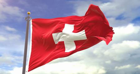 Switzerland Flag Waving Wind On Sky Background. Wave And Fabric Switzerland Flag.