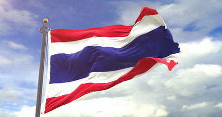 Thailand Flag Waving Wind On Sky Background. Wave And Fabric Thailand Flag.