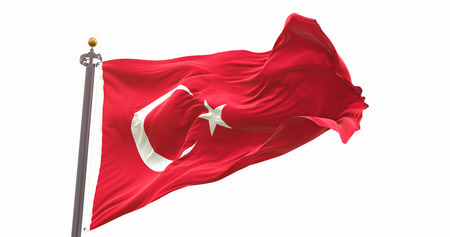 Turkey Flag Waving Wind Isolated on White Background. Wave And Fabric Turkey Flag. Фото со стока