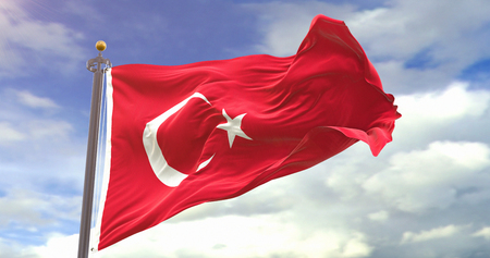 Turkey Flag Waving Wind On Sky Background. Wave And Fabric Turkey Flag.