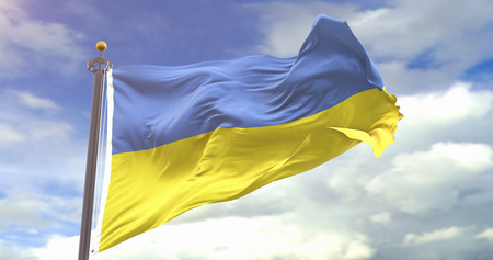 Ukraine Flag Waving Wind On Sky Background. Wave And Fabric Ukraine Flag.
