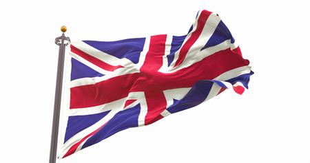 United Kingdom Flag Waving Wind Isolated on White Background. Wave And Fabric. Фото со стока