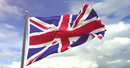 United Kingdom Flag Waving Wind On Sky Background. Wave And Fabric United Kingdom Flag.