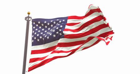 United State Flag Isolated on White Background. Wave And Fabric. Фото со стока