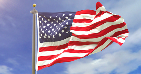 United States Flag Waving Wind On Sky Background. Wave And Fabric.