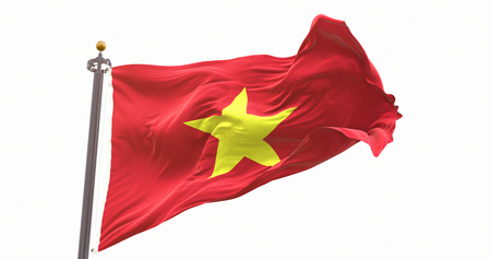 Vietnam Flag Waving on Wind Isolated White Background. Wave And Fabric Vietnam Flag.