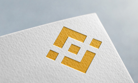 Golden Binance Coin. Binance Coin Logo.