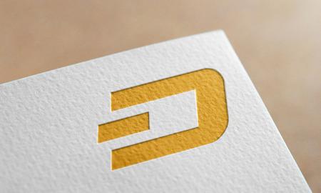 Golden Dush Coin Symbol Write Paper. Dush Coin Logo.