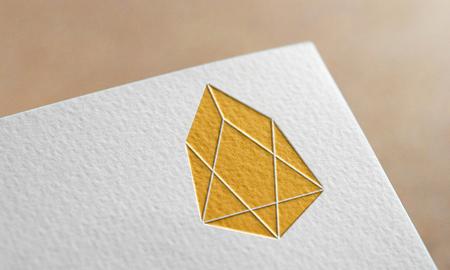 Golden Eos Coin Symbol Write Paper. Eos Coin Logo.