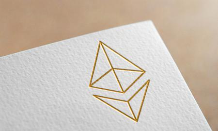 Golden Ethereum Coin Symbol Write Paper. Ethereum Coin Logo.