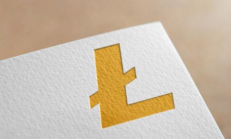 Golden Litecoin Symbol Write Paper. Litecoin Logo.