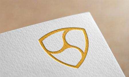 Golden Nem Coin Symbol Write Paper. Nem Coin Logo.