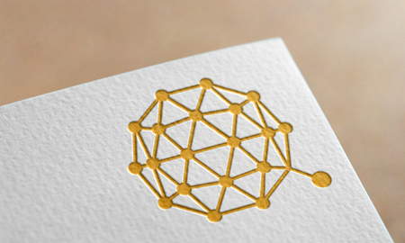 Golden Qtum Coin Symbol Write Paper. Qtum Coin Logo.