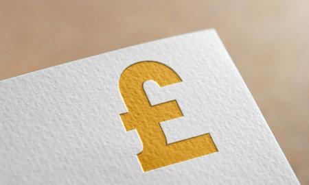 Golden Sterling Money Symbol. Sterling Money Logo.