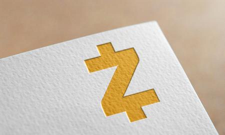 Golden Zcash Coin Symbol Write Paper. Zcash Coin Logo.