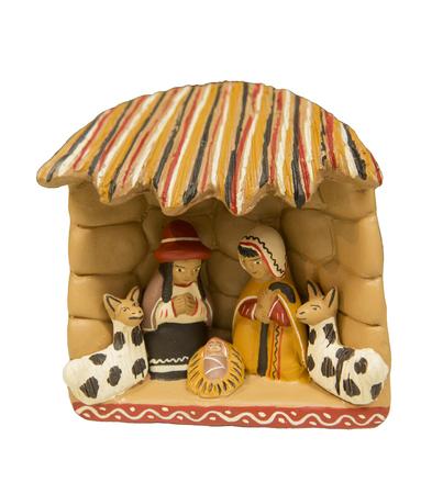 heilige familie: Die Heilige Familie, Jesus, Joseph Mary alle zusammen Keramik Produkt aus PERUIsolated auf wei�em Hintergrund