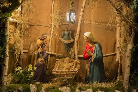 domestic scene: Nativity Scene Christmas  The Holy family, Jesus, Joseph   Mary all togethe  Germany Stock Photo