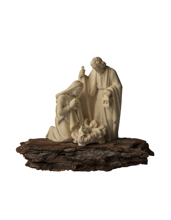 The Holy family, Jesus, Joseph   Mary all together  Wooden product isolated on white background  photo