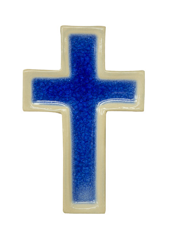 ceramic cross beige and blue isolated on white background photo