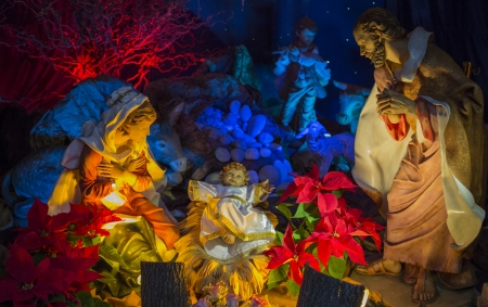 A christmas scene. The Holy family, Jesus, Joseph & Mary photo