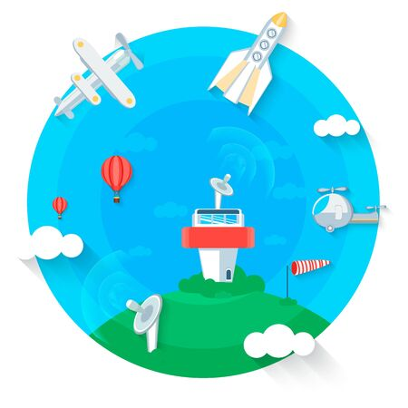 Flight control center cartoon style, flat design.