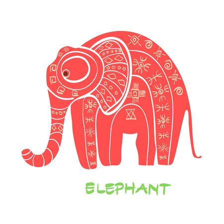 Vintage graphic vector elephant. African ornament. Can be used for textile, book,  dress,  prints, phone case, greeting card.