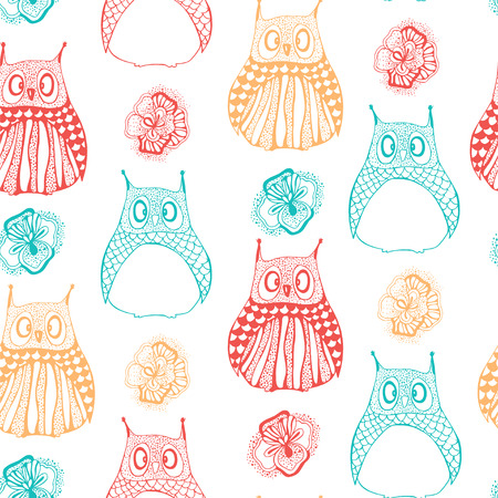 backgrouns: Seamless pattern with owls and flowers.
