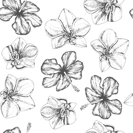 ink sketch: Floral pattern with tropical flowers.