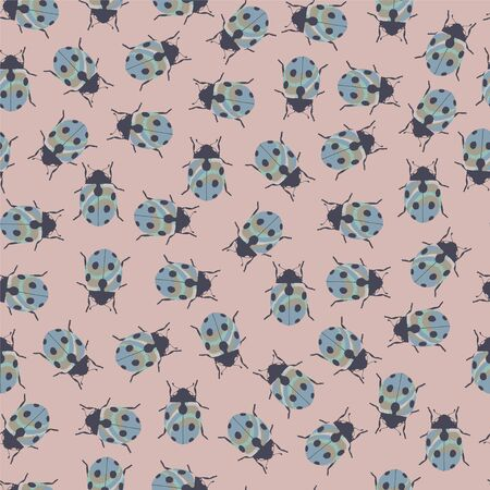 entomological: Color seamless pattern with ladybug. Illustration