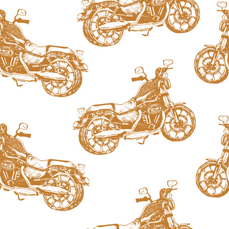 Seamless pattern with motorbike on white background.