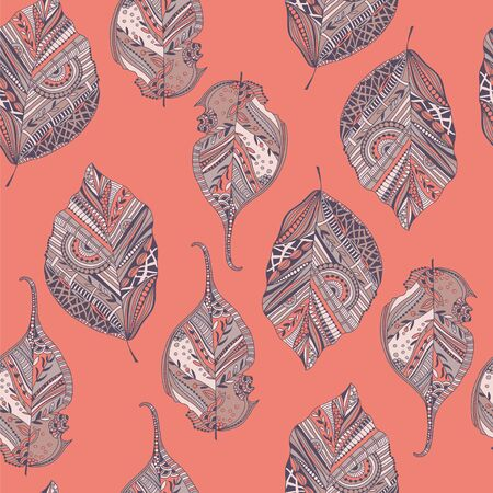 endless: Endless elegant texture with leaves. Illustration