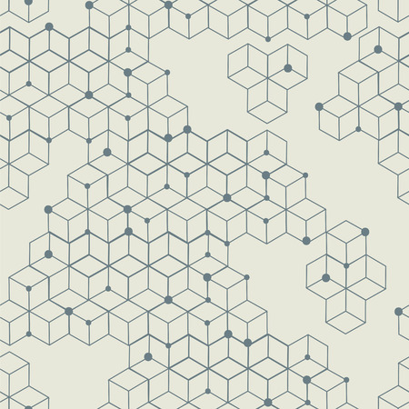 Seamless modern texture. Geometric background with rhombus and nodes from rhombuses with circles variously sized in nodes.